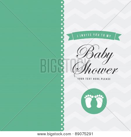 Baby shower card with baby foot prints vector illustration