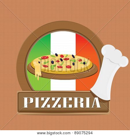 Pizza Label or Poster - Design Template.