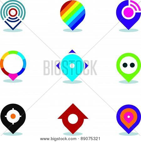 Modern world app global position locator community internet media logo icon