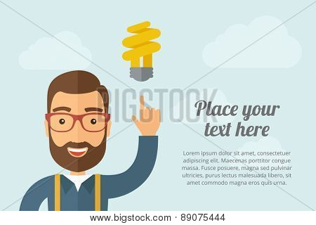 A Man pointing the spiral bulb icon. A contemporary style with pastel palette, light blue cloudy sky background. Vector flat design illustration. Horizontal layout with text space on right part.
