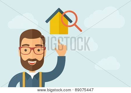 A Man pointing the house with magnifying glass icon. A contemporary style with pastel palette, light blue cloudy sky background. Vector flat design illustration. Horizontal layout with text space on