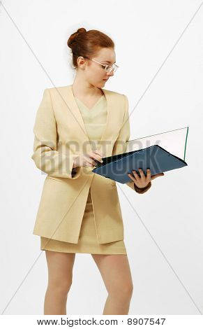 Career Girl In Glasses With Folder
