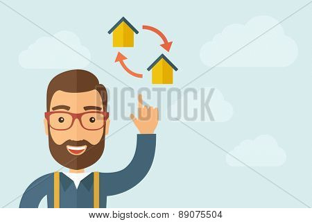 A Man pointing the two house icon. A contemporary style with pastel palette, light blue cloudy sky background. Vector flat design illustration. Horizontal layout with text space on right part.