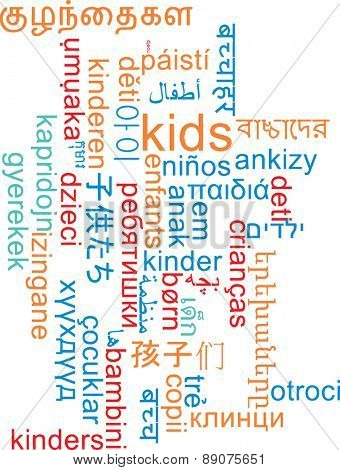 Background concept wordcloud multilanguage international many language illustration of kids