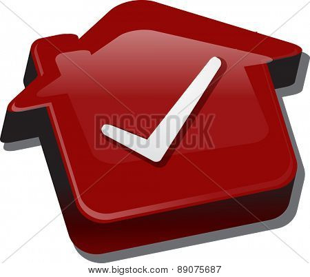 Illustration concept clipart of home with approval checkmark OK passed house