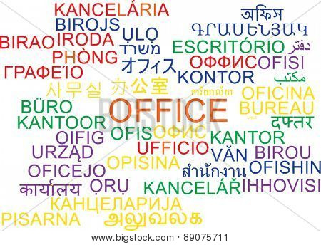 Background concept wordcloud multilanguage international many language illustration of office