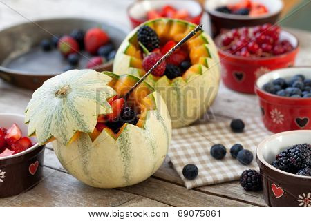 French Melons Filled With Berries