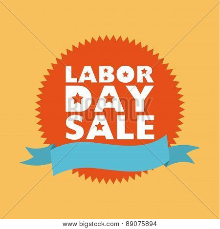 Labor day stamp on yellow background