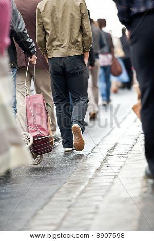 Crowd Walking - Group Of People Walking Together (motion Blur)