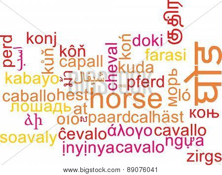 Background concept wordcloud multilanguage international many language illustration of horse
