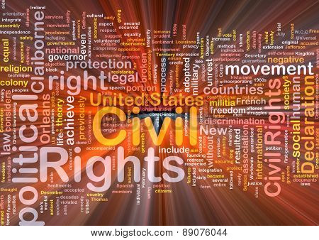 Background text pattern concept wordcloud illustration of civil rights glowing light