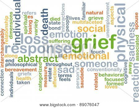 Background text pattern concept wordcloud illustration of grief sadness