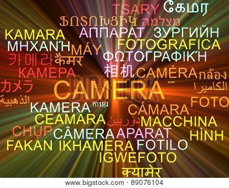 Background concept wordcloud multilanguage international many language illustration of camera glowing light