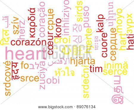 Background concept wordcloud multilanguage international many language illustration of heart