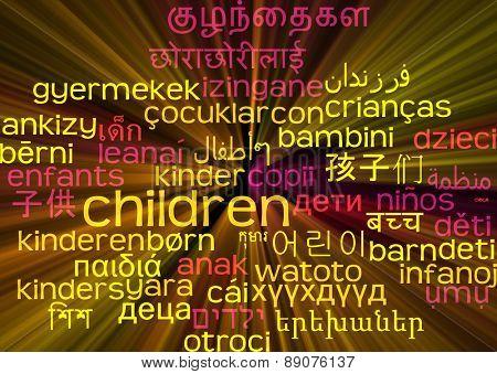 Background concept wordcloud multilanguage international many language illustration of children glowing light