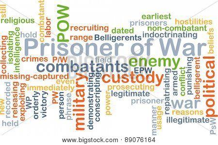Background text pattern concept wordcloud illustration of prisoner of war