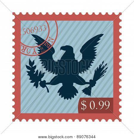 blue eagle on red shield vector illustration