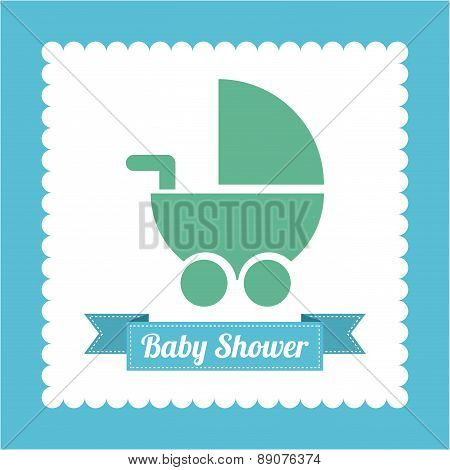 Baby shower card with baby carriage vector illustration