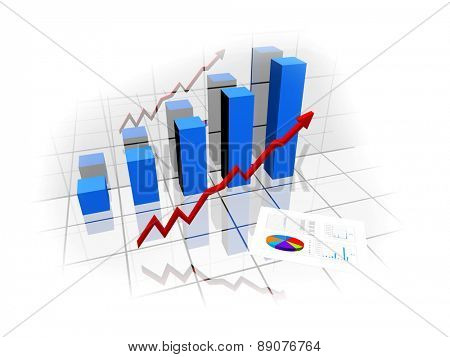 3d financial graph for growing market