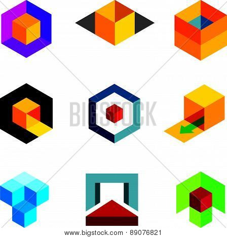 Creative 3d cube body for professional company logo icon