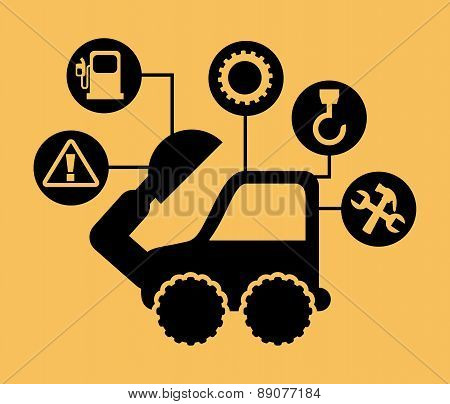 excavator cartoon over yellow background vector illustration