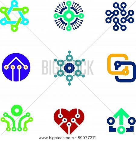 Future innovation technology computer  integrated chip nanotechnology science logo icons