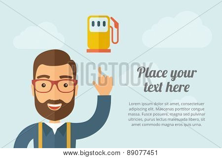 A Man pointing the gas pump icon. A contemporary style with pastel palette, light blue cloudy sky background. Vector flat design illustration. Horizontal layout with text space on right part.