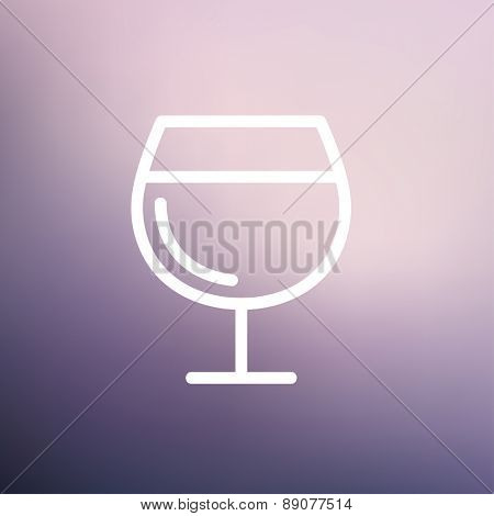 Glass of wine icon thin line for web and mobile, modern minimalistic flat design. Vector white icon on gradient mesh background.