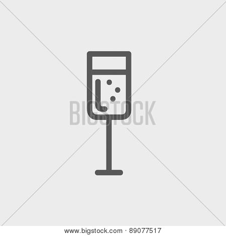 Wine glass icon thin line for web and mobile, modern minimalistic flat design. Vector dark grey icon on light grey background.