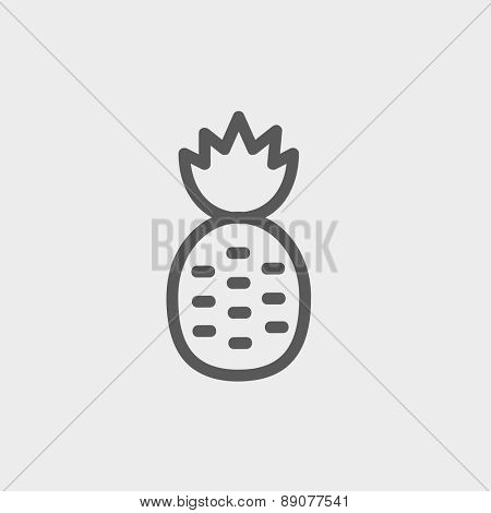 Pineapple icon thin line for web and mobile, modern minimalistic flat design. Vector dark grey icon on light grey background.