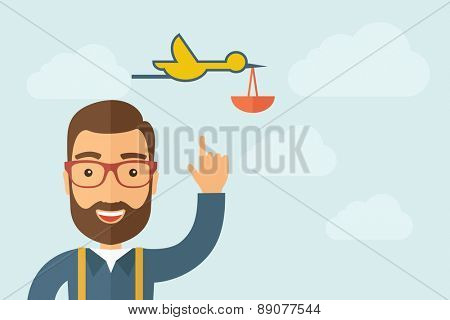 A Man pointing the bird with basket icon. A contemporary style with pastel palette, light blue cloudy sky background. Vector flat design illustration. Horizontal layout with text space on right part.
