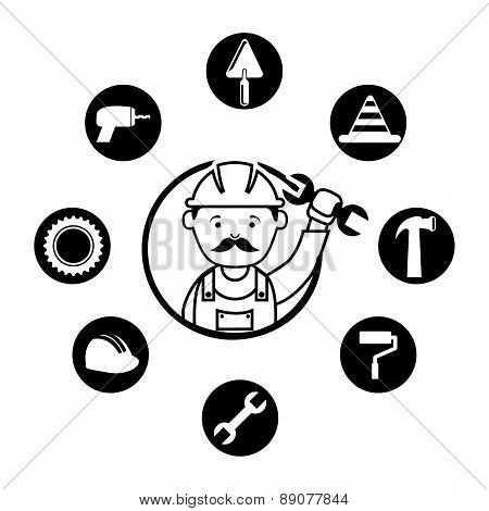 mechanical design over white background vector illustration