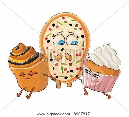 Muffin and Cake offend pizza. Vector illustration.
