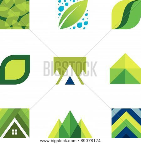 Green life creative logo set construction better life icons vector
