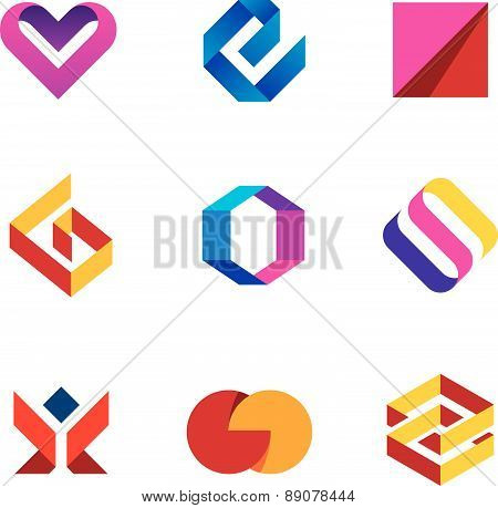 Creative business company tape line help care logo icon set