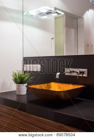 Illuminated Washbasin In Modern Toilet