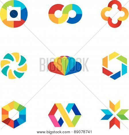 Color capture imagination limitless education share community logo icon set