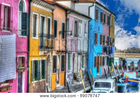 Burano Houses By The Canal