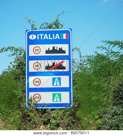 Italian Sign With Plants
