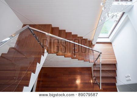 Wooden Stairway In Luxury House