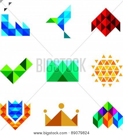 New generation computer pixel triangle object set series isolated on white background icons