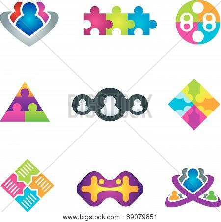 Unification of social community network and communication icons on white background vector illustrat