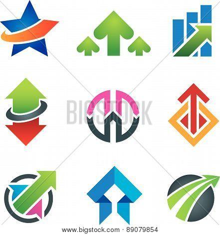 Up star arrow business marketing and finance economy icon set