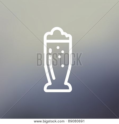 Mug of beer icon thin line for web and mobile, modern minimalistic flat design. Vector white icon on gradient mesh background.