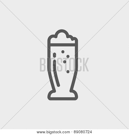 Mug of beer icon thin line for web and mobile, modern minimalistic flat design. Vector dark grey icon on light grey background.