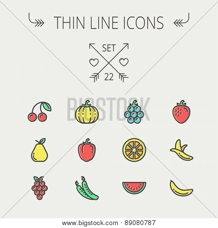 Food and drink thin line icon set for web and mobile. Set includes-banana, watermelon, cherry, squash, grapes, lanzones, peas, pear icons. Modern minimalistic flat design. Vector icon with dark grey