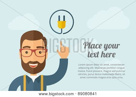 A Man pointing the electric plug icon. A contemporary style with pastel palette, light blue cloudy sky background. Vector flat design illustration. Horizontal layout with text space on right part.