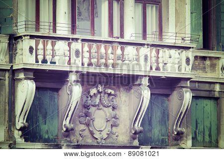 Antique Balcony In Venice
