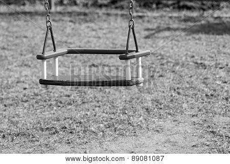 Children's Swing On Chains Of Monochrome Tone