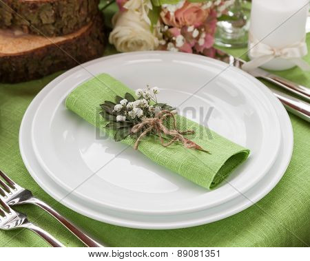 Wedding Place Setting In Fashion Rustic Style.
